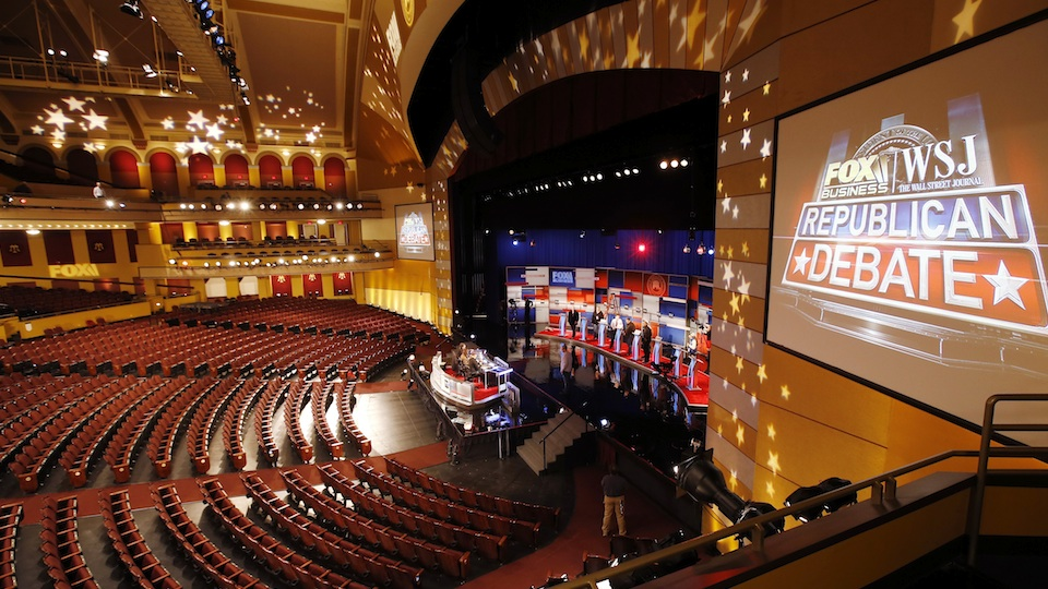 Workers prepare the stage ahead of the Republican debate on November 11, 2015 in Milwaukee, Wisconsin.