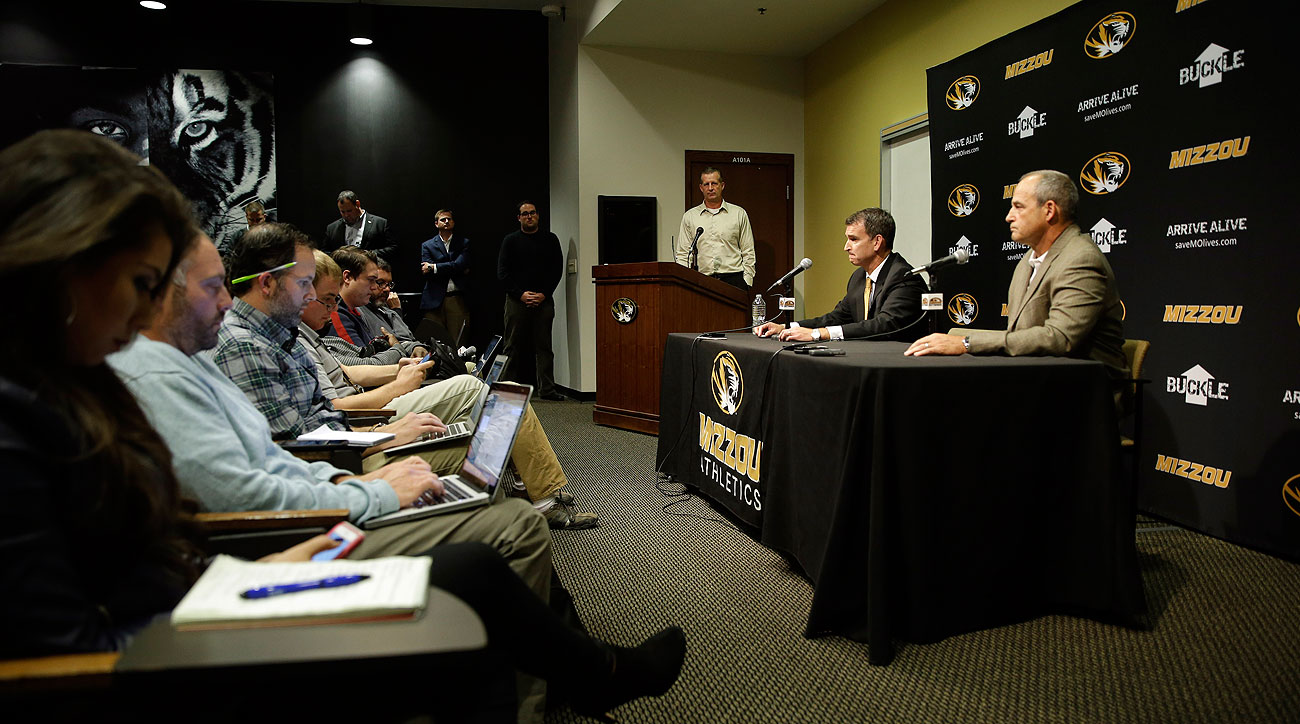 Athletics director Mack Rhoades (left) and football coach Gary Pinkel addressed the media Monday.