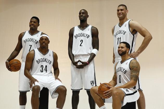 From left to right: Joe Johnson, Paul Pierce, Kevin Garnett, Brook Lopez, Deron Williams of the Brooklyn Nets.