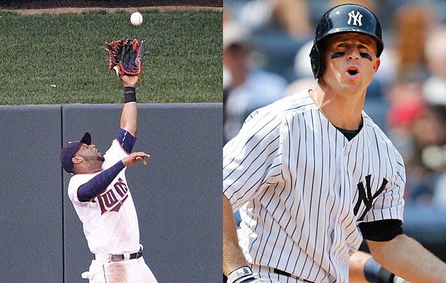 For the moment, Aaron Hicks (left) and Brett Gardner are teammates in the New York Yankees' outfield.