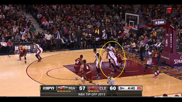 Chris Bosh loses Kevin Love, who hits a three