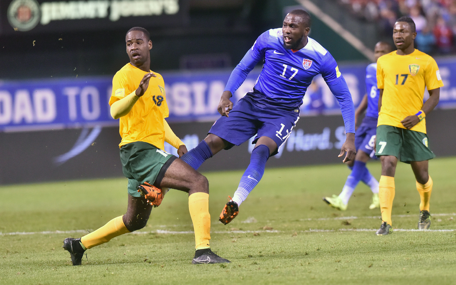 Jozy Altidore watches one of his shots head toward goal in the USA's 6-1 win over St. Vincent and the Grenadines in the opening of 2018 World Cup qualifying. Altidore scored twice, as the USA overcame a shocking early deficit.
