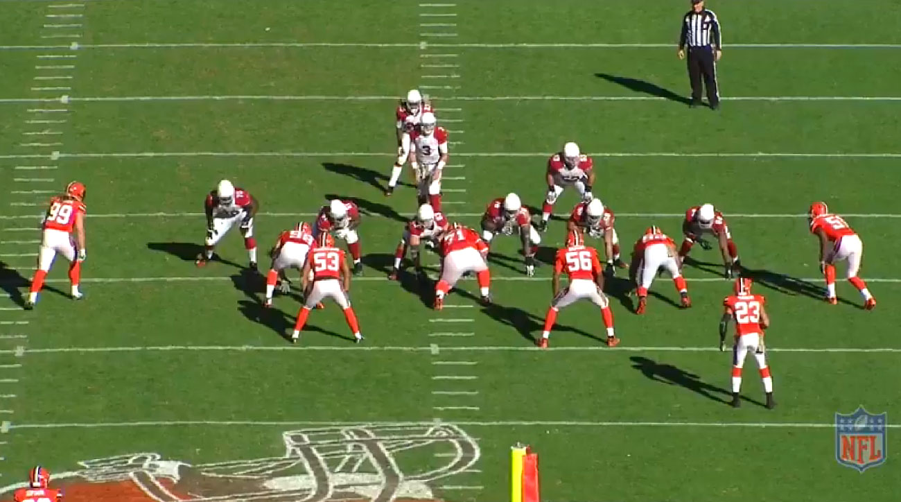The Cardinals line up for Pistol Strong Left, with center Shipley to Palmer's left side. Seven-man protection will give the quarterback time to make his reads.