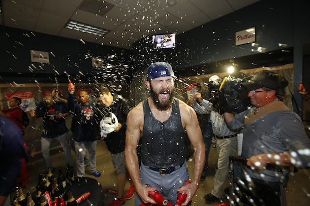 Jake Arrieta of the Chicago Cubs celebrates his team's wild card win over the Pittsburgh Pirates.