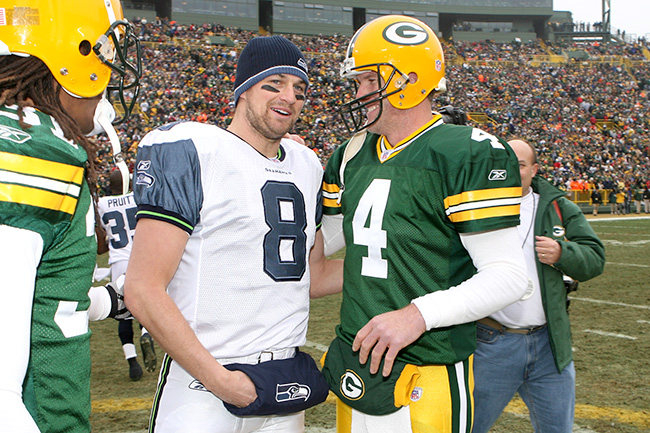 After spending three seasons backing up Favre in Green Bay, Hasselbeck returned to Lambeau and faced off with Favre in a 2003 playoff game (which the Packers won in overtime).