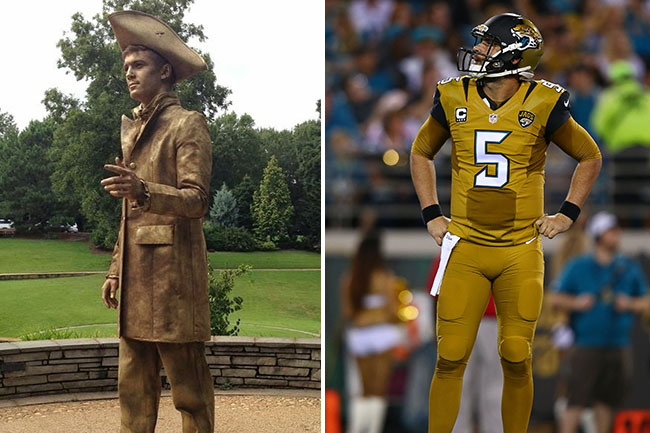 One is a pan-handling street performer and one is Blake Bortles. Thanks to Nike and Thursday Night Football, it is LITERALLY IMPOSSIBLE TO TELL THE DIFFERENCE!