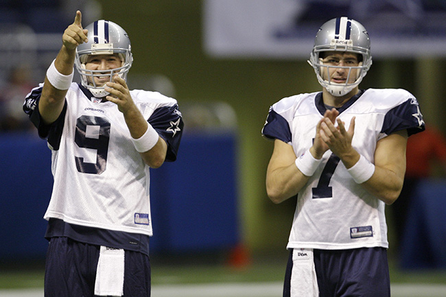 Pictured: The last two human beings to win games as the Dallas Cowboys' starting quarterback. Can you name them both? (Don't say it out loud, other people might want to guess.)