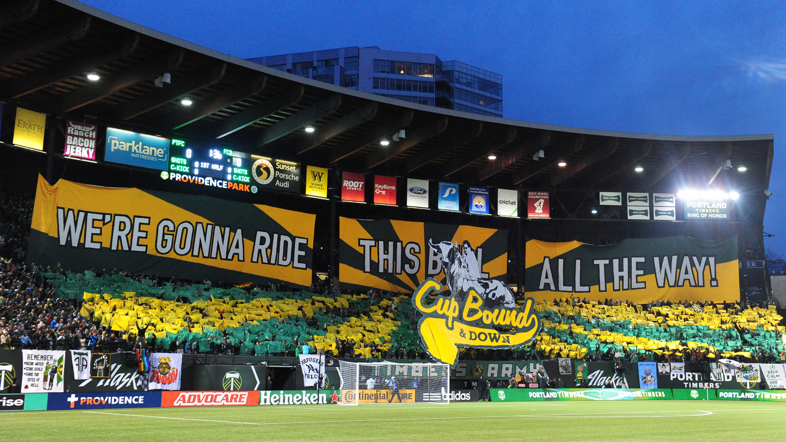 The Timbers Army doubles down on their Eastbound and Down theme, adding another wrinkle during the club's MLS Western Conference final first leg vs. FC Dallas on November 22, 2015 at Providence Park.
