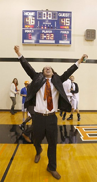 Eslinger celebrates Caltech's win over Occidental.