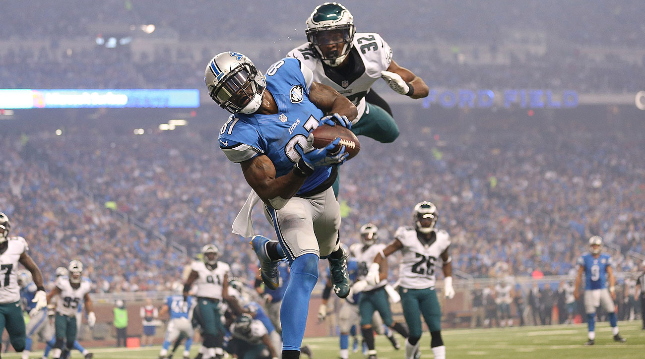 Calvin Johnson caught three touchdown passes against the Eagles on Thursday.