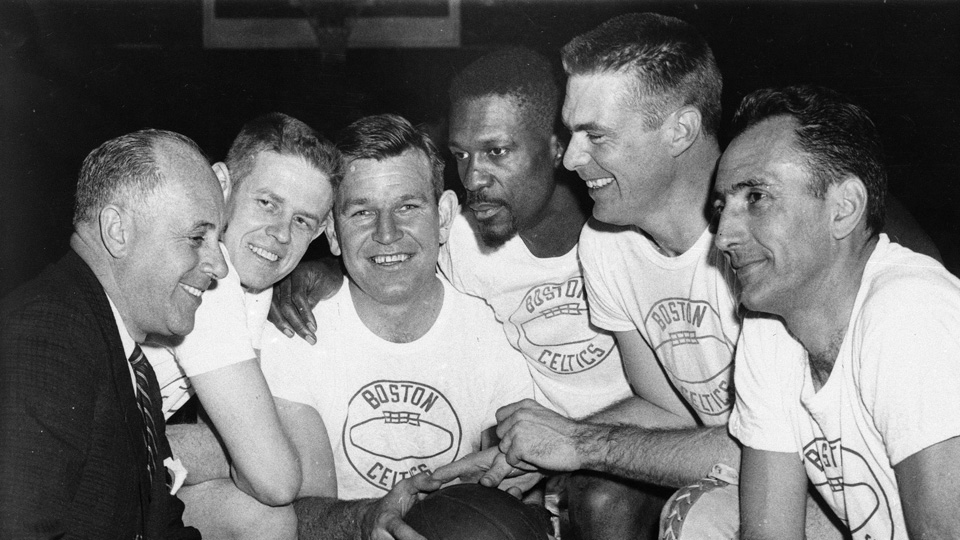 From left: Coach Red Auerbach, Frank Ramsey, Jim Loscutoff, Bill Russell, Tom Heinsohn and captain Bob Cousy of the 1963 Celtics.