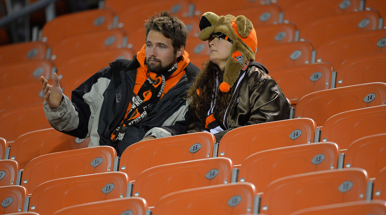 Browns fans hung around after watching their team lose to Baltimore at the last second.
