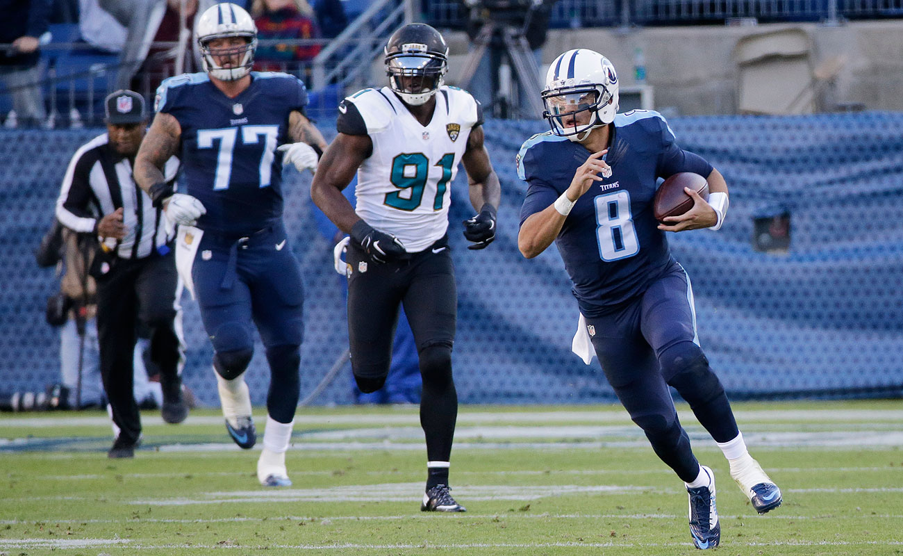 In addition to three passing touchdowns, Titans QB Marcus Mariota added an 87-yard scoring run against the Jaguars on Sunday.