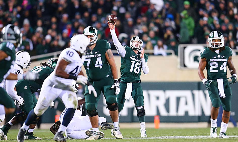 Michigan State 55, Penn State 16: The Spartans clinched the Big Ten East with a convincing win in East Lansing against the Nittany Lions. Connor Cook returned from injury and threw for 248 yards and three touchdowns.