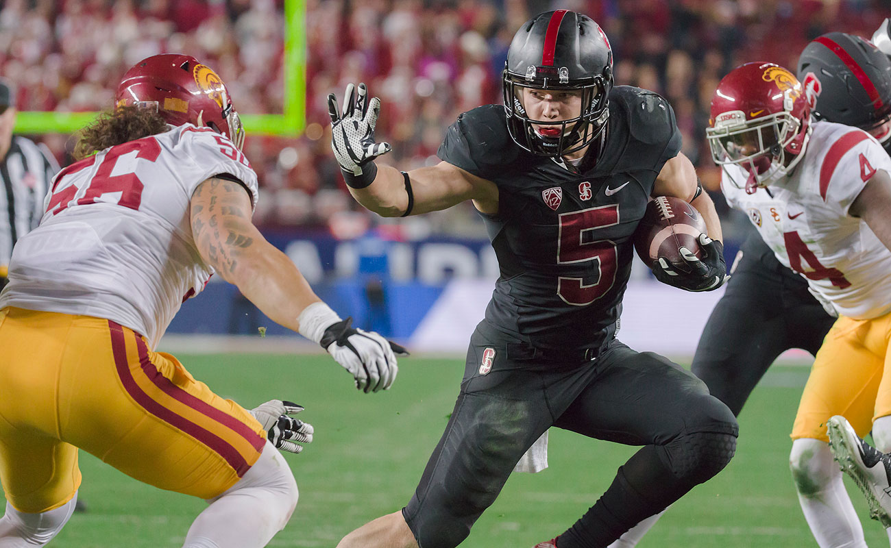 Stanford sophomore Christian McCaffrey broke Barry Sanders' 27-year-old total yardage record of 3,250.