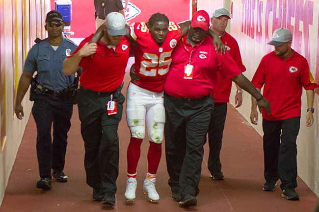 Chiefs running back Jamaal Charles after a torn ACL