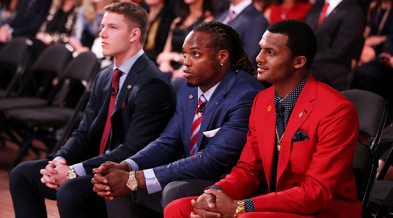 Alabama's Derrick Henry (center) beat out Stanford's Christian McCaffrey (left) and Clemson's Deshaun Watson to win the 2015 Heisman Trophy.