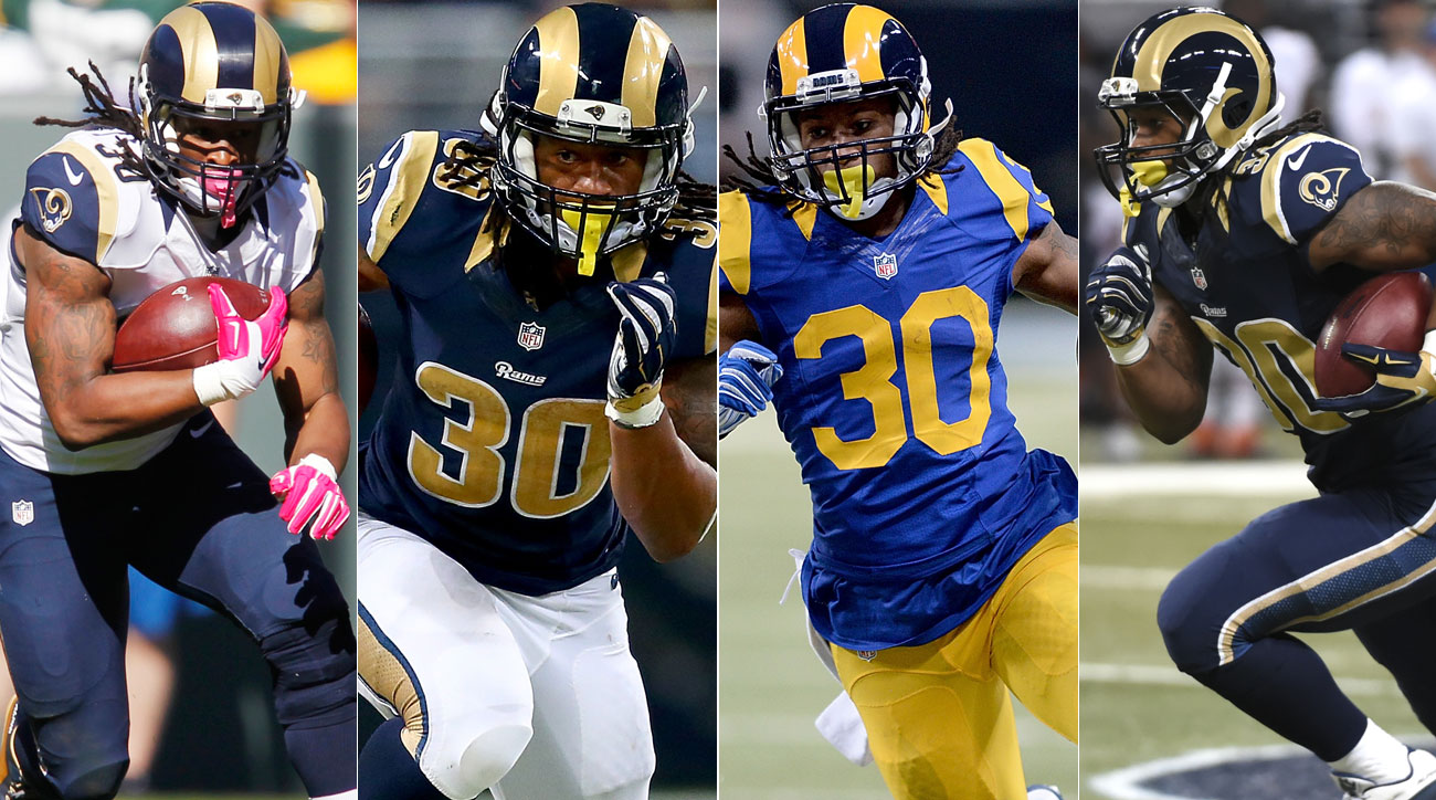 """Just some of the many combinations of the Rams' """"uniforms"""" this season."""