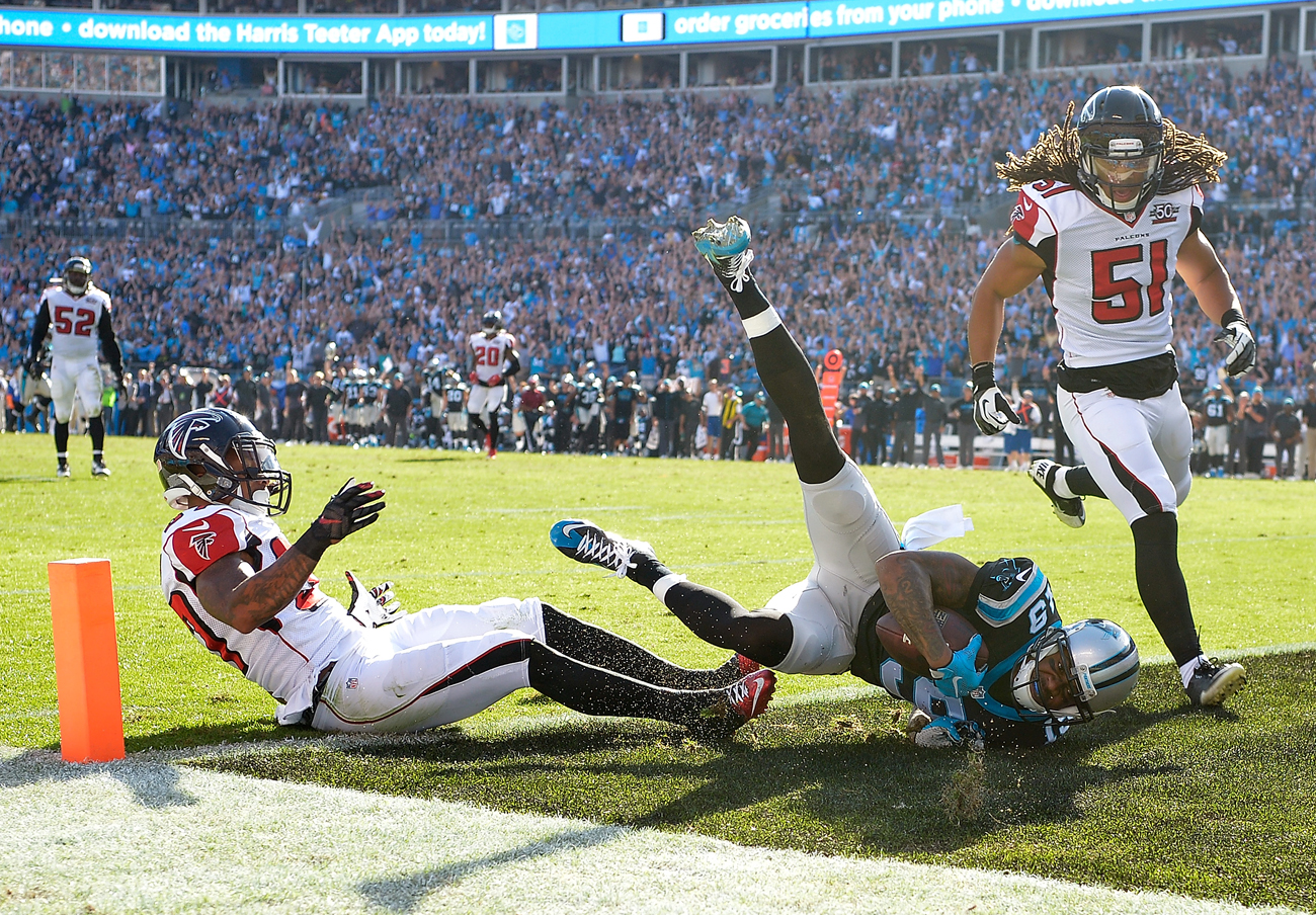 Ted Ginn scores one of his two touchdowns in the Panthers' victory over the Falcons in Week 14 of the 2015 NFL season.