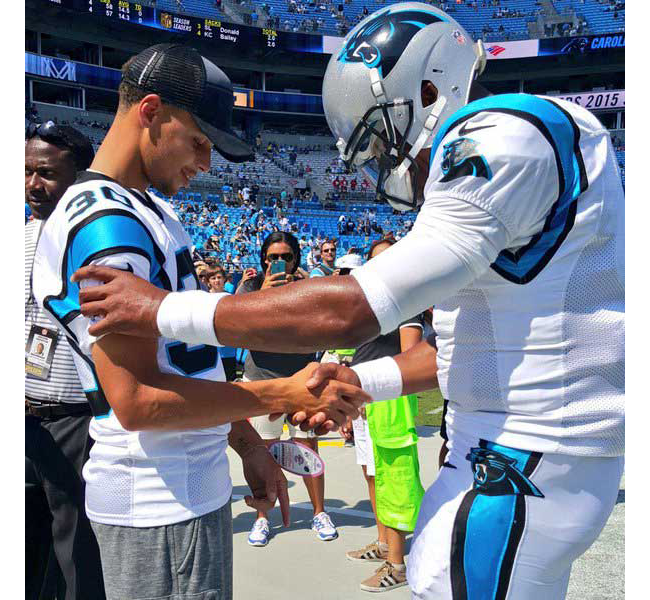 Stephen Curry and Cam Newton before the Panthers  home-opener on Sept. 20 91e791f19