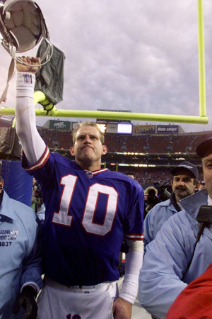 Kent Graham celebrates the New York Giants' upset over the previously unbeaten Denver Broncos in December 1998.
