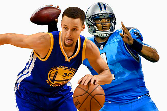Golden State Warriors guard Stephen Curry and Carolina Panthers quarterback Cam Newton.