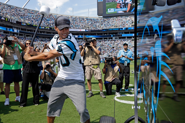 Golden State Warriors guard Stephen Curry bangs the drum before the  Carolina Panthers  home- b4a18b878