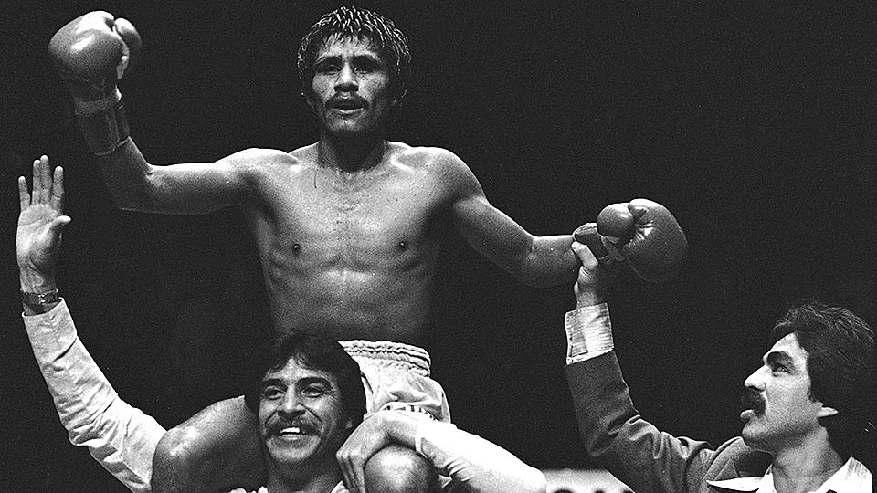 2016 Boxing Hall of Fame inductee Lupe Pintor celebrates his 1980 victory over Johnny Owen in Los Angeles