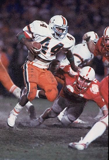 Keith Griffin #44 of the Miami Hurricanes 1984 Orange Bowl: Miami v. Nebraska