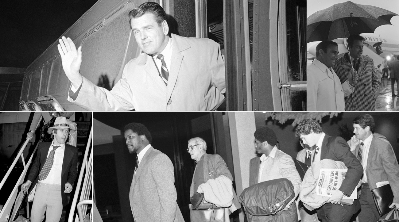 Clockwise from top left: Rams coach George Allen at Milwaukee airport in 1967; Chiefs coach Hank Stram and QB Len Dawson at New Orleans airport in 1970; Giants players at Newark airport in 1981; Vikings QB Fran Tarkenton at Long Beach airport in 1977.