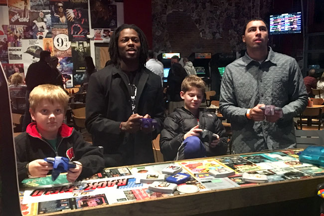 Kansas City Chiefs wideout Chris Conley (second from l.) is the NFL' most obsessed Star Wars fan.