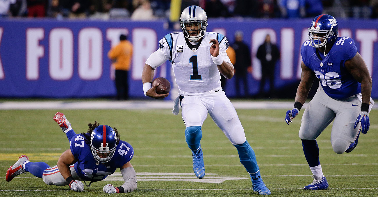 Cam Newton had 100 yards rushing to go along with his five passing touchdowns on Sunday.
