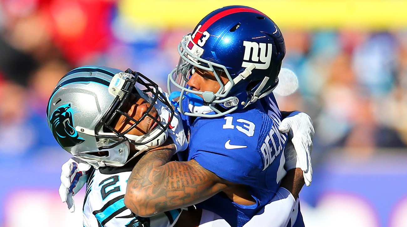 Odell Beckham Jr. and Josh Norman scuffle during the Panthers' Week 15 win over the Giants.