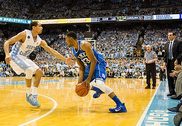 Last year's game between Duke and UNC in Chapel Hill. Duke won 84–77.