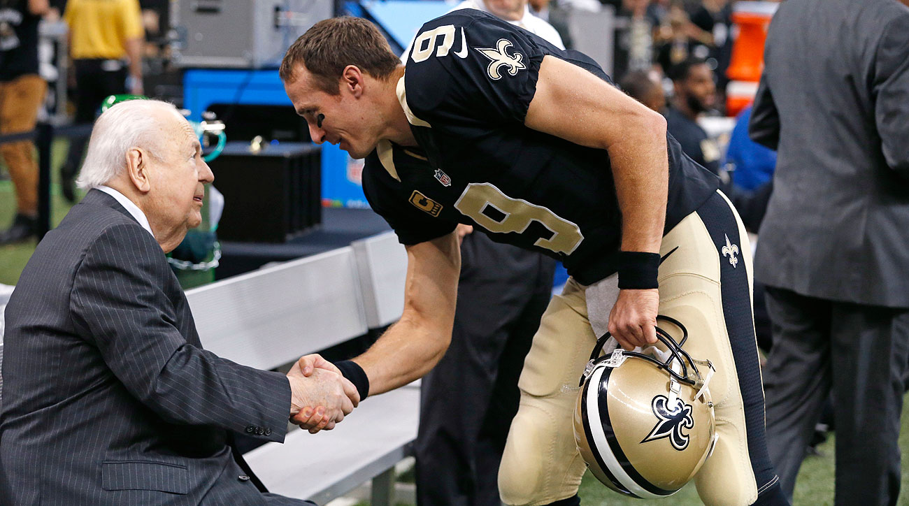 Saints owner Tom Benson and the team's front office will have a decision to make this offseason regarding Drew Brees' $30 million cap number in 2016.