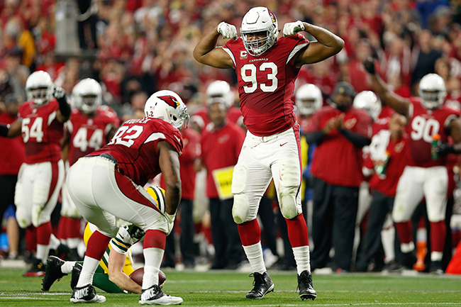 Calais Campbell of the Arizona Cardinals celebrates a sack against the Green Bay Packers