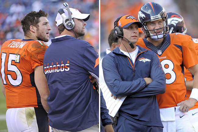 Gase helped re-work an offense that got the Tebow-led Broncos to the playoffs. Two seasons later, he worked with Peyton Manning during the greatest statistical season ever by a quarterback.