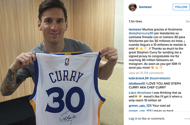 Stephen Curry Lionel Messi Instagram 30 million followers