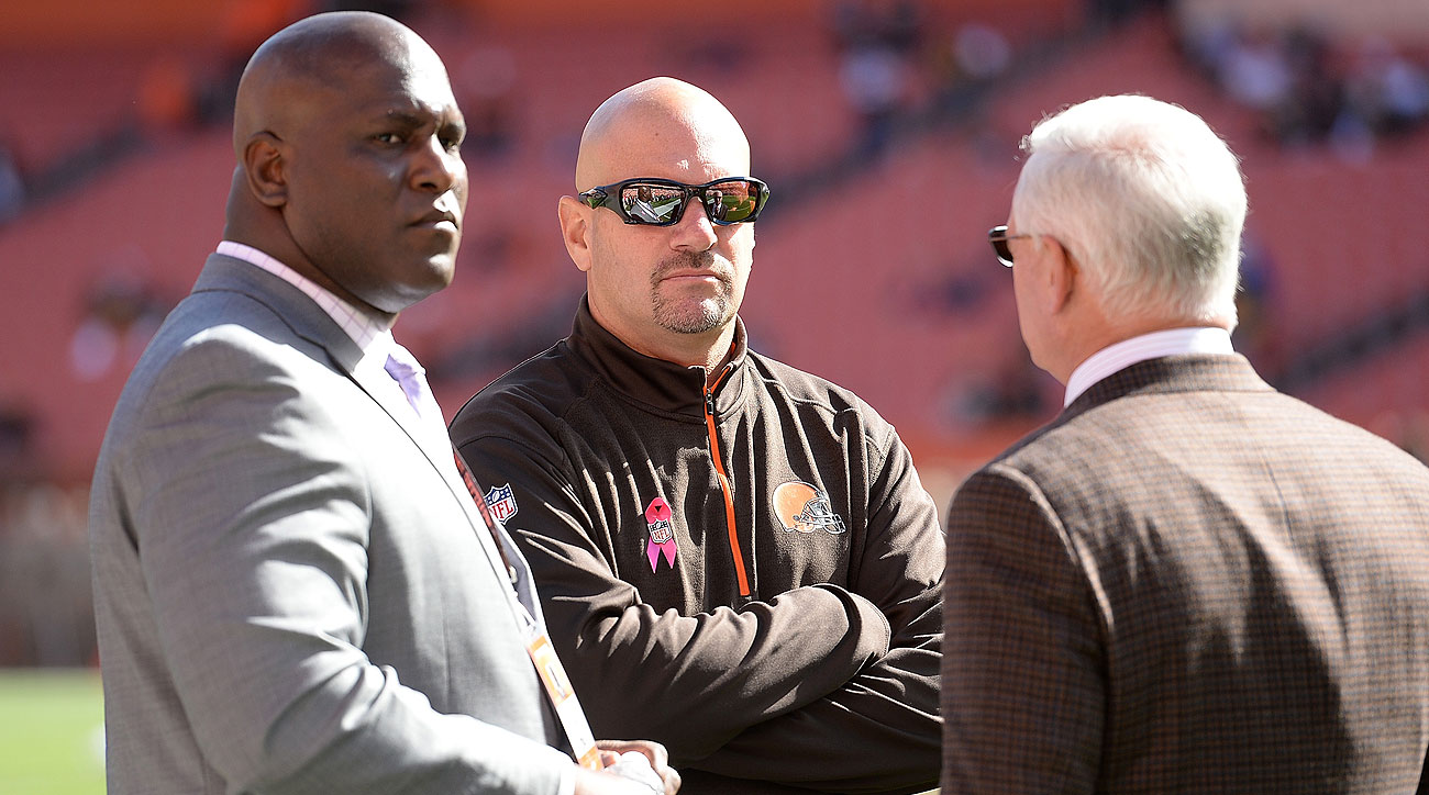 GM Ray Farmer (left) and coach Mike Pettine (center) were in their jobs for two seasons before being fired by owner Jimmy Haslam.