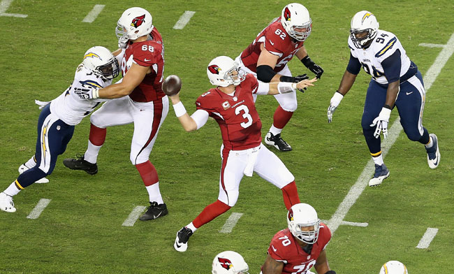 Carson Palmer drops back for the Arizona Cardinals.