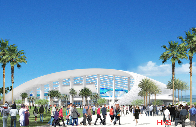A rendering of the Rams' proposed stadium in Inglewood.