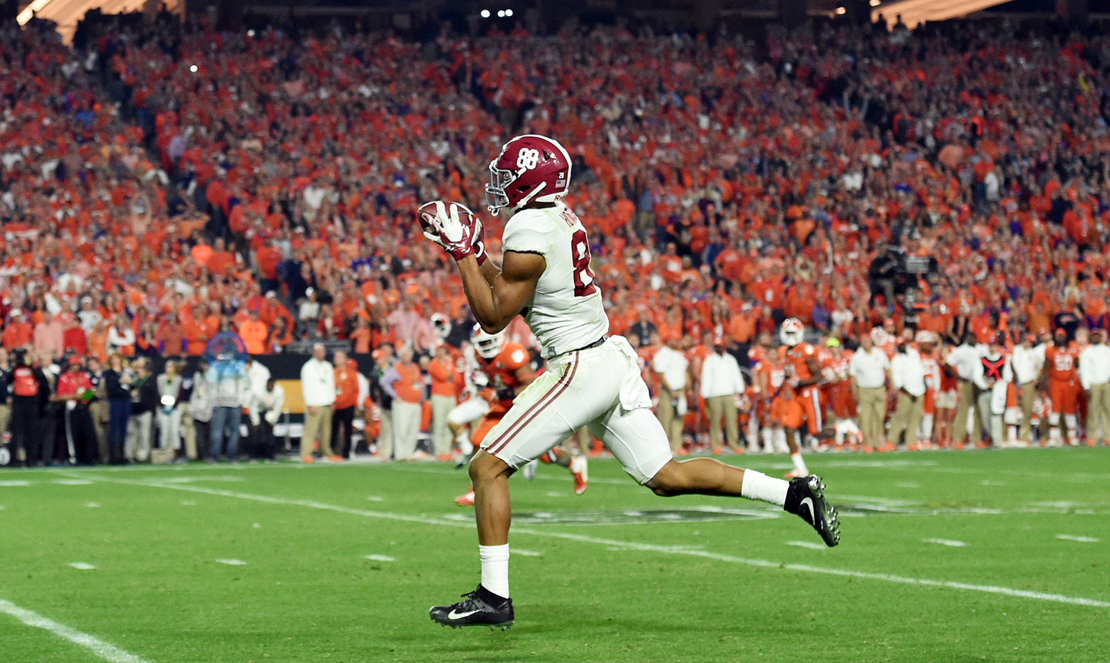 Alabama 45, Clemson 40: With Clemson's defense focused on stopping Heisman Trophy winner Derrick Henry, Crimson Tide tight end O.J. Howard caught five passes for 208 yards and two touchdowns to lead his team to a five-point win in the national title game.