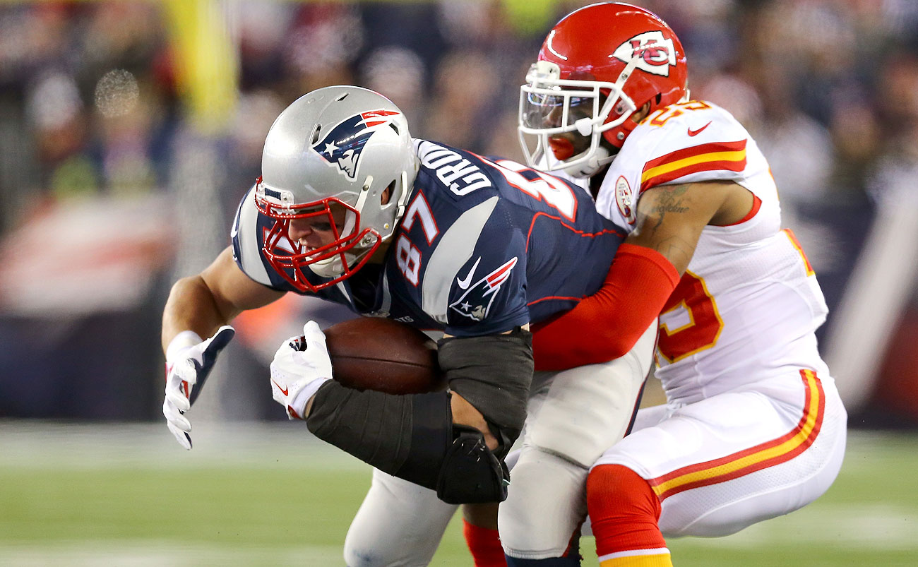 Rob Gronkowski and the Pats got the better of Eric Berry and the Chiefs on Saturday.