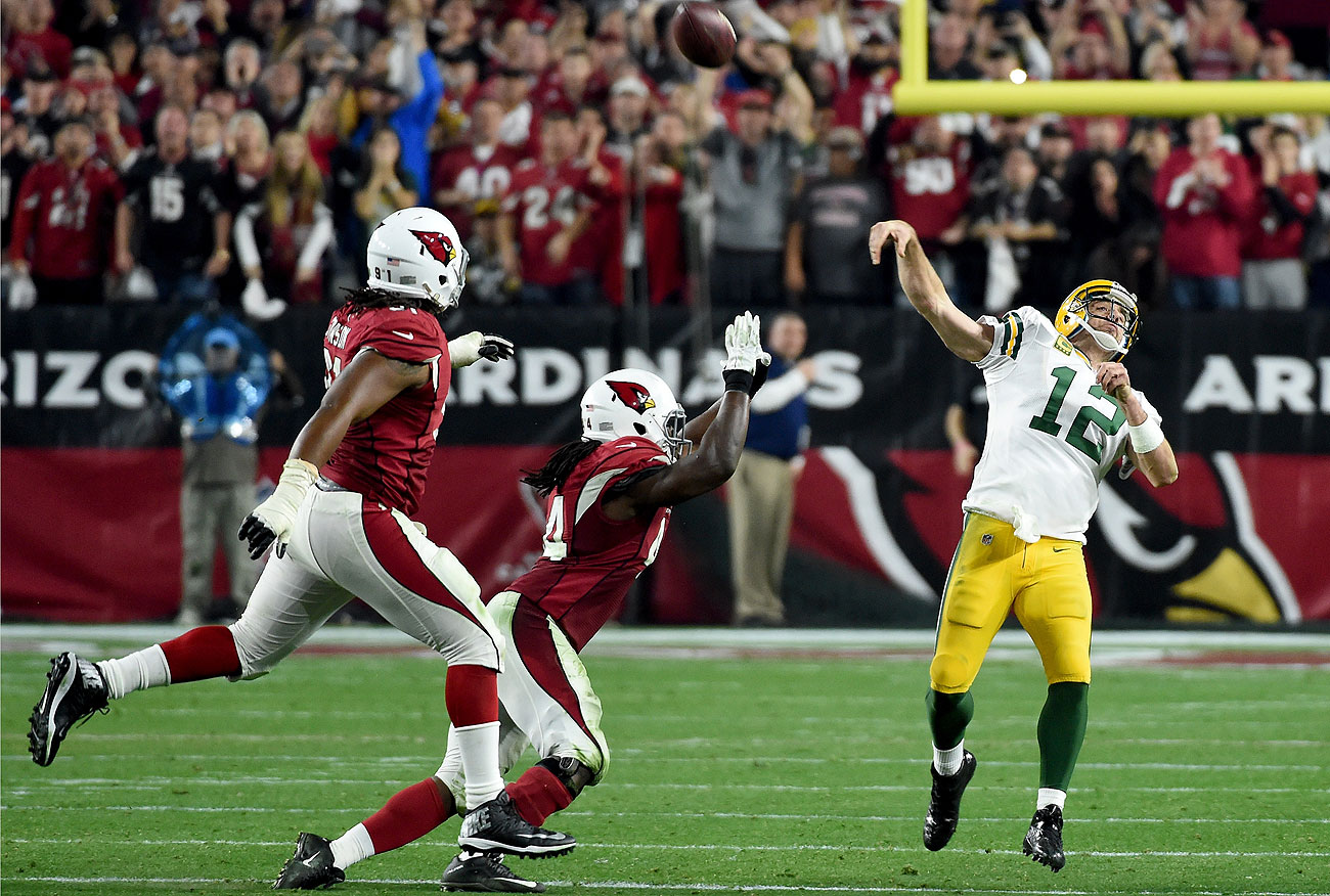Aaron Rodgers completed two desperation heaves down the stretch, including this one at the end of regulation.