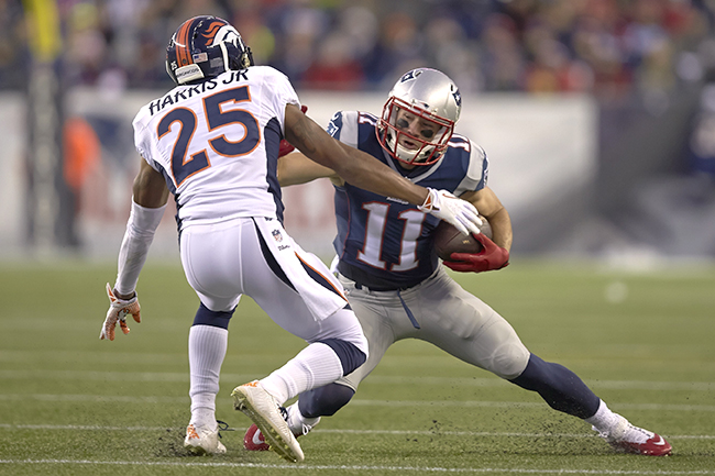Last season, Julian Edelman had nine catches for 89 yards in the Patriots' 43-21 regular-season win over the Broncos in Foxboro.