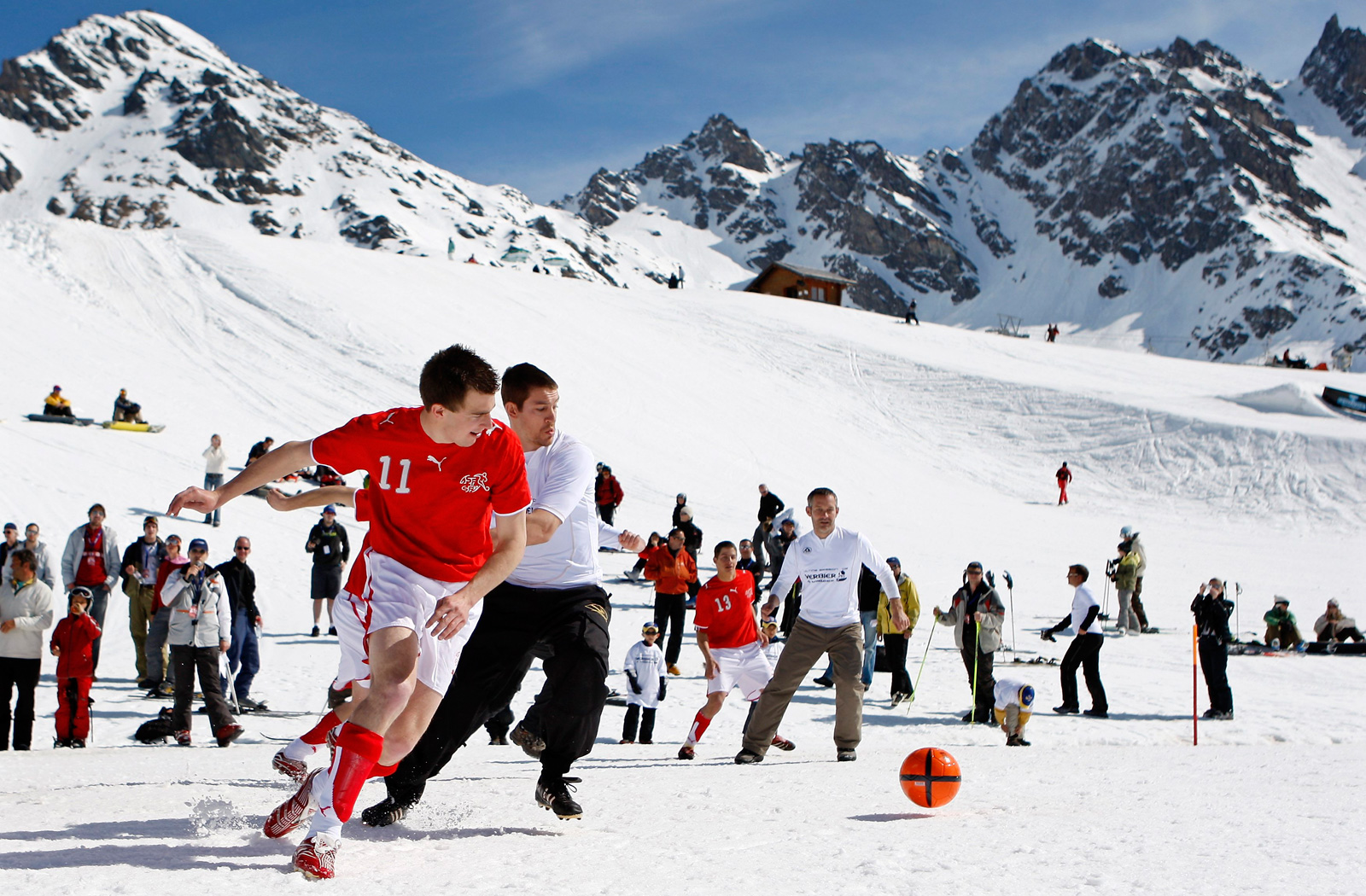 Neither snow nor altitude stopped these players in the Alps in Verbier, Switzerland in 2008.