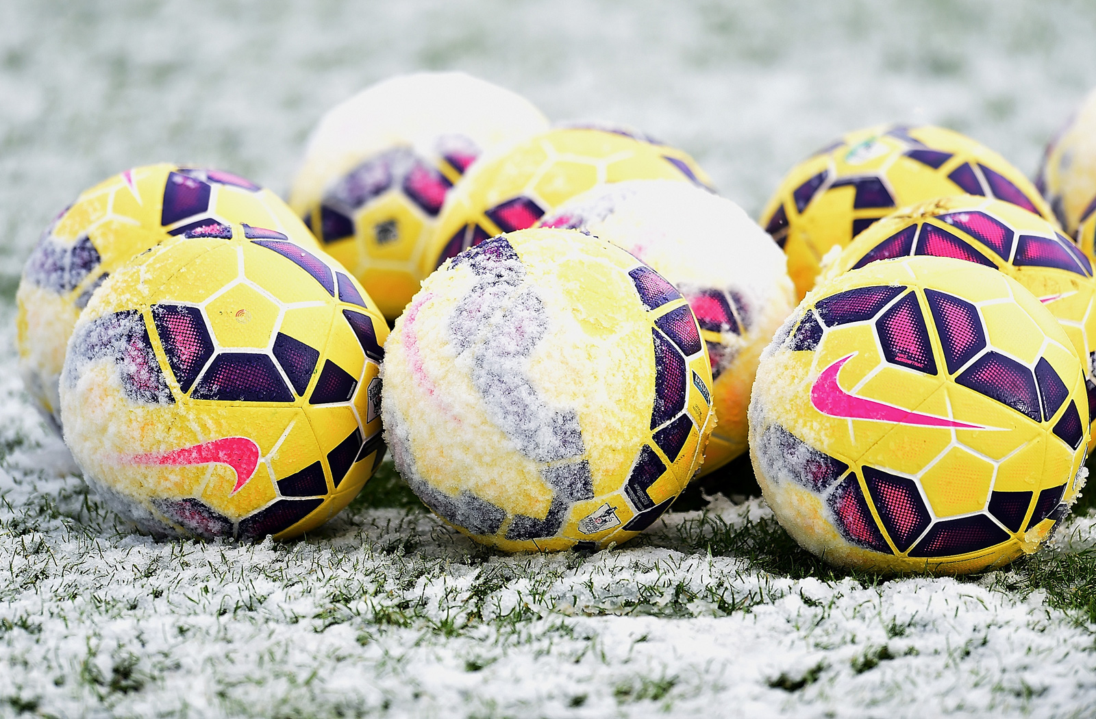 The yellow balls are out at a January 2015 training session at Liverpool.
