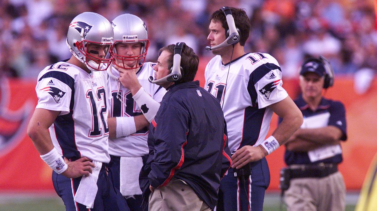 Tom Brady, with Bill Belichick, in 2001.