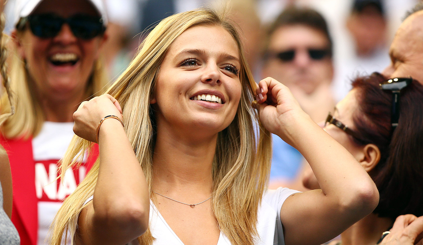 Danielle Knudson, the girlfriend of Milos Raonic of Canada, smiles after his fourth-round match against Stan Wawrinka.