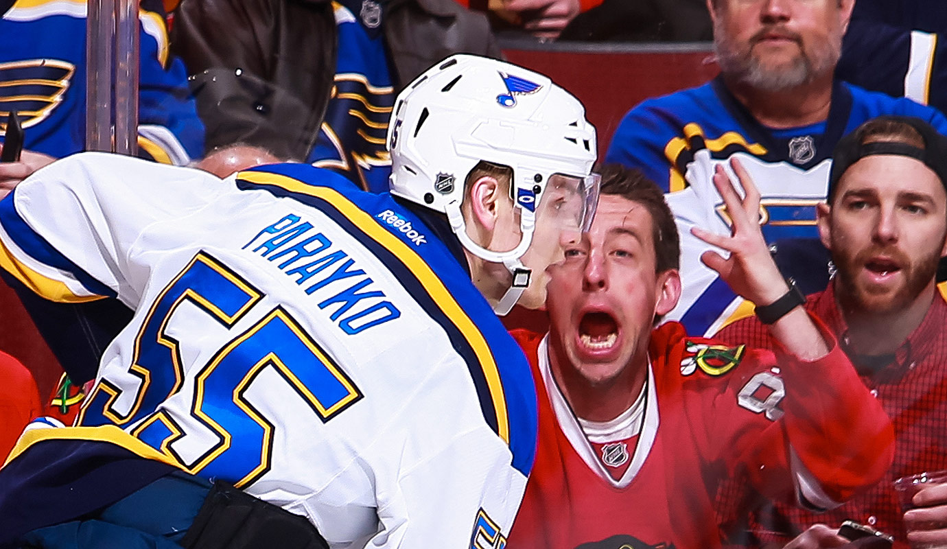 A Chicago Blackhawks fan yells at Colton Parayko #55 of the St. Louis Blues in the third period of the NHL game at the United Center on January 24, 2016 in Chicago, Illinois.